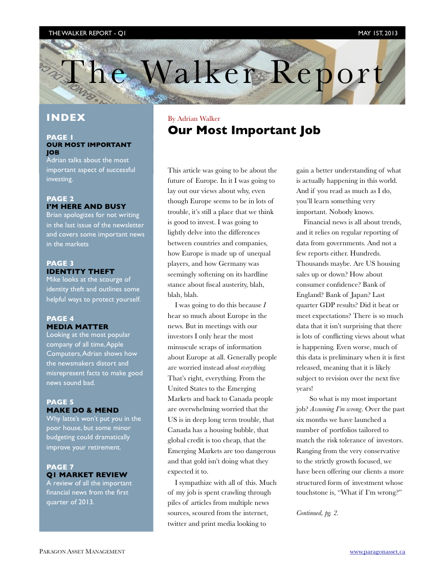 Previous Newsletters  The Walker Report