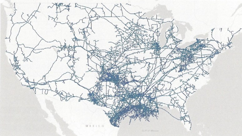 Pipelines in the US. Most of the pipelines direct energy to Texas, which isn't set up to handle the ultra light crude from shale projects. that energy, coming out of North Dakota, needs to get to New Jersey. The lack of pipelines means it is being shipped by rail to Chicago and then via pipeline.