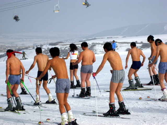 Skiing in pants