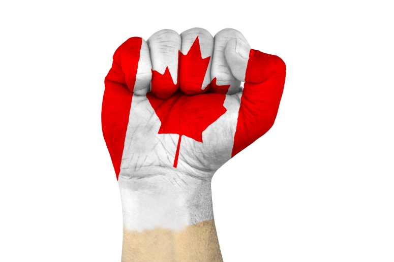 canada flag and fist